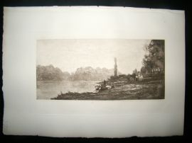 Dujardin after Charles Daubigny 1885 Photogravure. Banks on the Seine, Paris